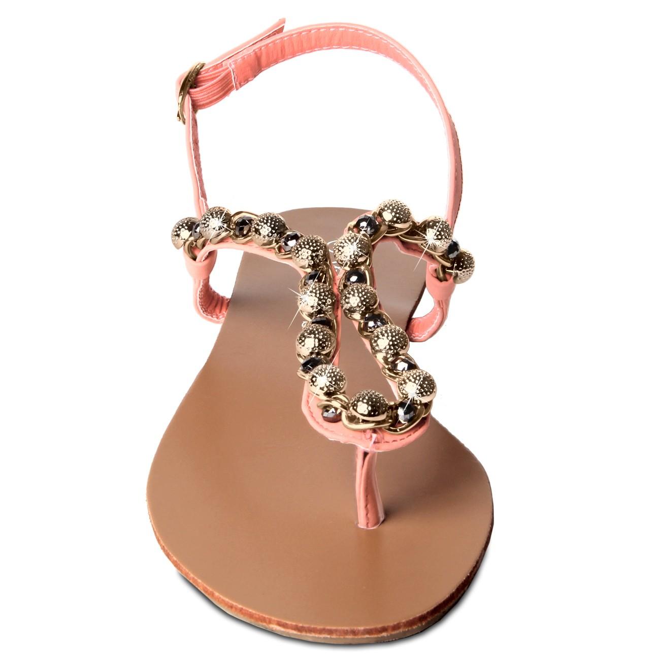 caspar damen sandaletten sandalen zehentrenner mit funkelnden steinen und goldkette viele. Black Bedroom Furniture Sets. Home Design Ideas