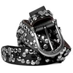 CASPAR 100% Genuine Leather Womens Vintage Belt with Studs - many colours - GU223L
