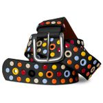 CASPAR Womens Studded Belt / Waist Band with Colourful Studs and Eyelets - many colours - GU269
