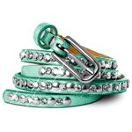 CASPAR Womens Skinny Vintage Belt / Waist Band with Studs and Rhinestones - many colours - GU268