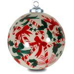 SIKORA INNENGLASMALEREI Weihnachtskugel Glaskugel Motiv ZUCKERSTANGEN - D:7,5cm
