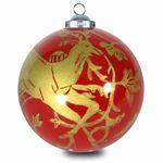 SIKORA INNENGLASMALEREI Weihnachtskugel Glaskugel Motiv GOLDENES RENTIER - D:7,5cm