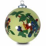 SIKORA INNENGLASMALEREI Weihnachtskugel Glaskugel Motiv VÖGEL AUF ZWEIGEN - D:7,5cm