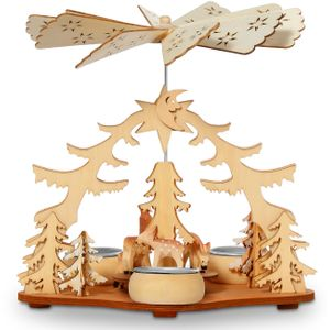 SIKORA P22 Wooden Christmas Pyramid for Tea Lights - Height 8.3 in