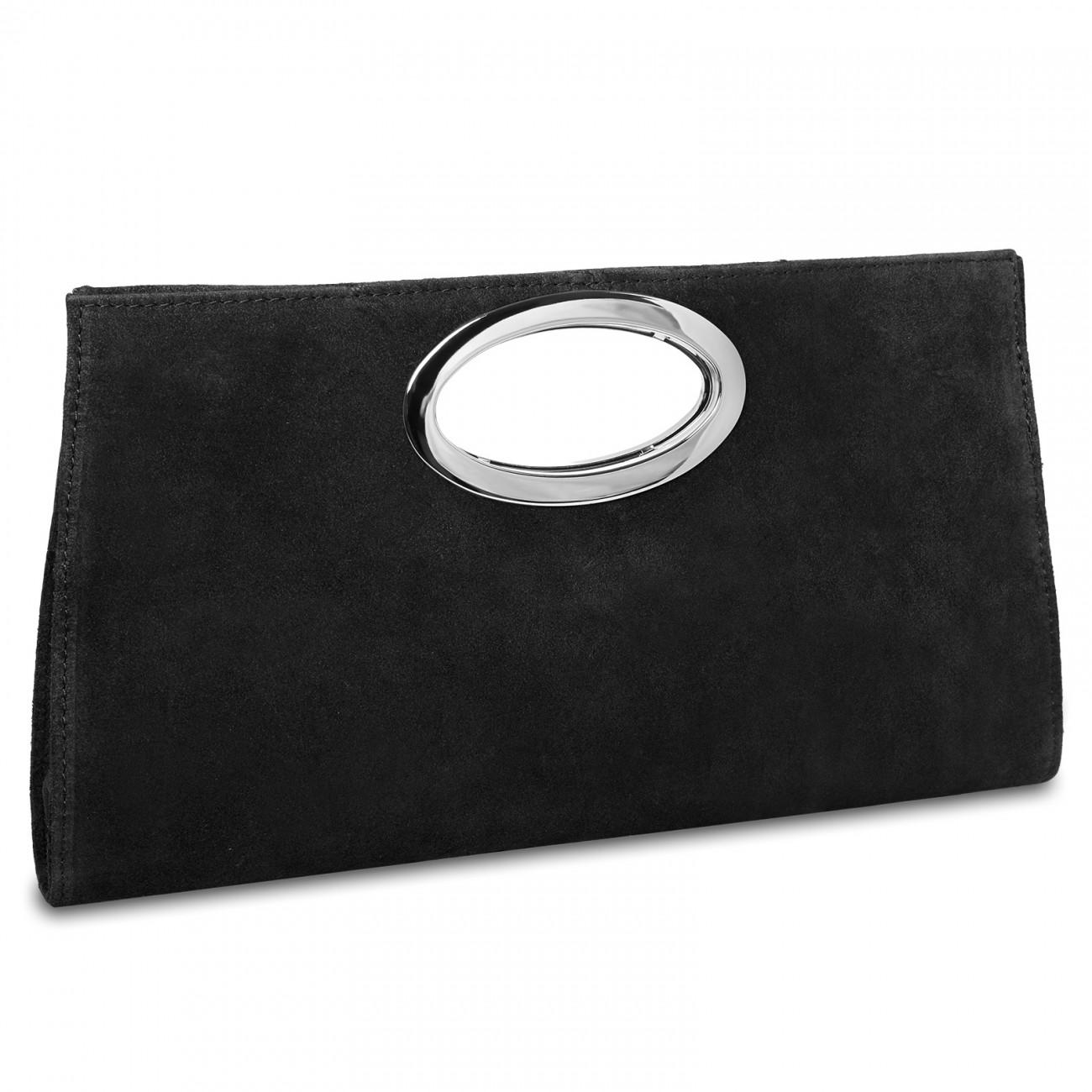 CASPAR TL699 große Damen XXL Wildleder Clutch Tasche Handtasche Abendtasche Ledertasche, Farbe:hell grau CASPAR Fashion