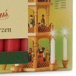 SIKORA Christmas Pyramid Wax Candles - RED - H:7,4cm / W:1,4cm, 18 Pcs.