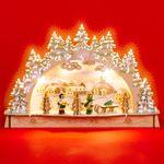 SIKORA LB55 kleiner LED Holz Schwibbogen WINTERDORF B:29,5 cm