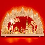 SIKORA LB52 beleuchteter LED Holz Schwibbogen WINTERDORF inklusive Trafo