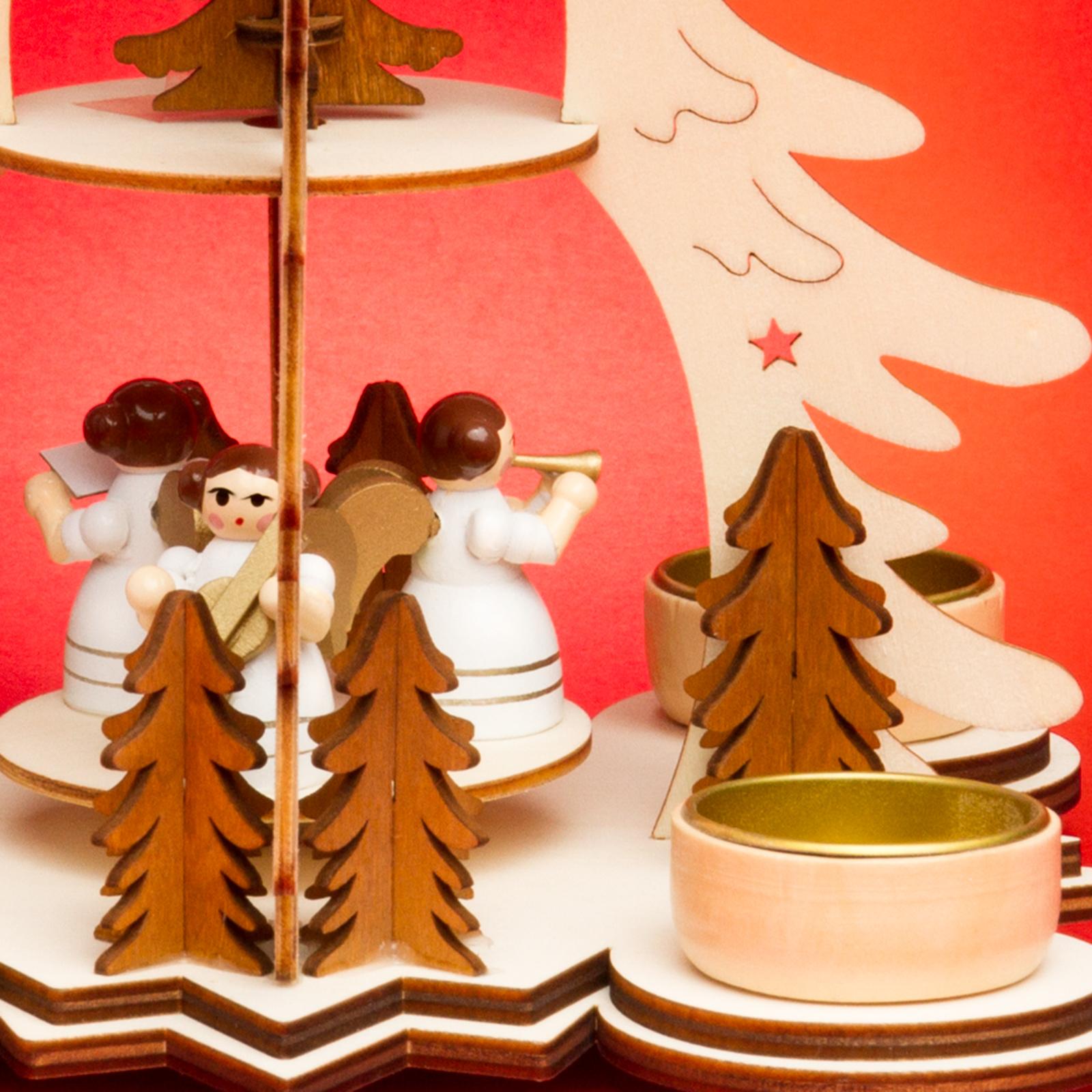 sikora p27 teelicht holz weihnachtspyramide mit engel h 26cm weihnachtspyramiden. Black Bedroom Furniture Sets. Home Design Ideas