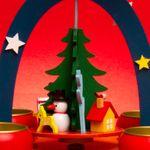 SIKORA P26 kleine bunte Kinder Teelicht Holz Weihnachtspyramide H:19cm