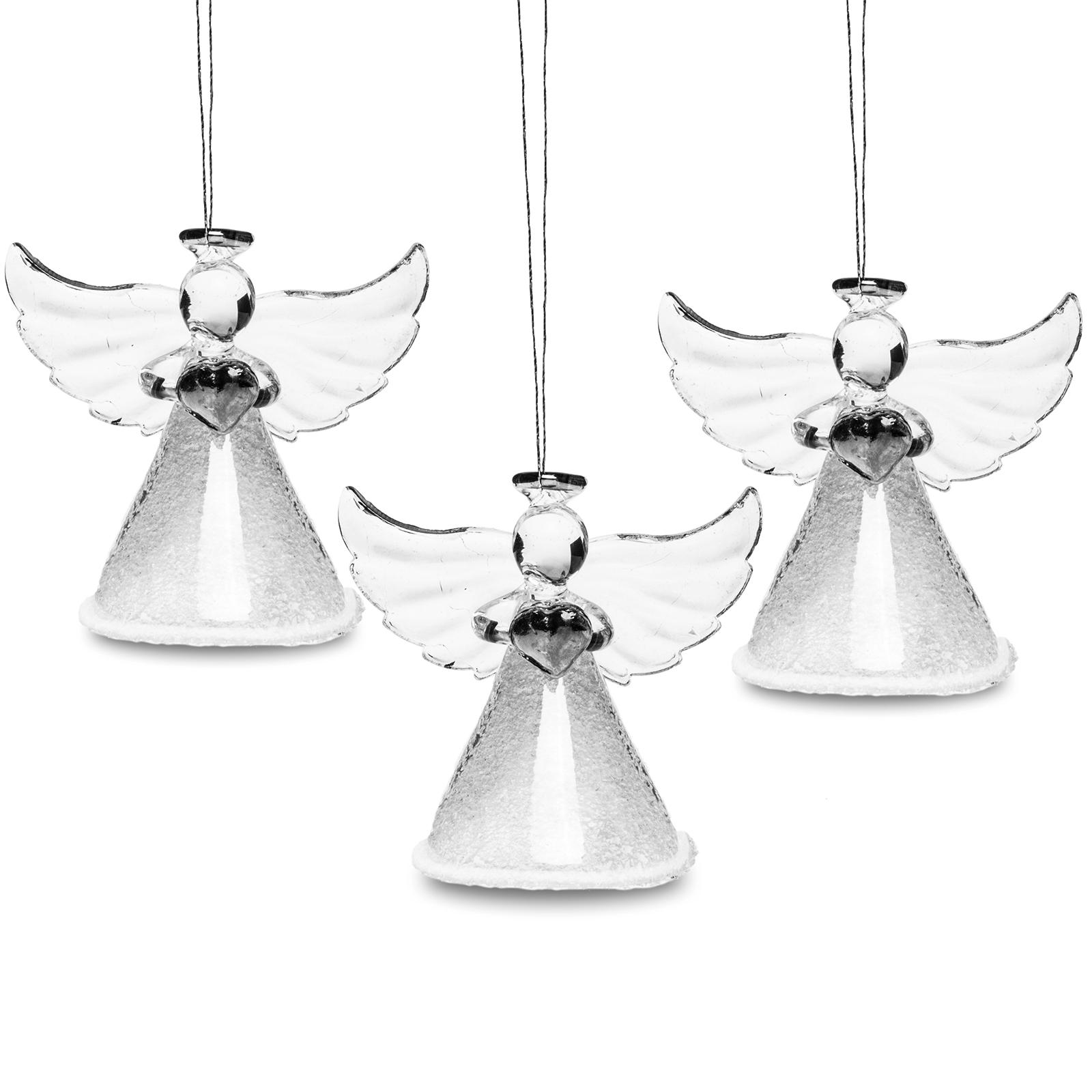 sikora christbaumschmuck weihnachtsbaum anh nger glas engel mit herz 3er set ebay. Black Bedroom Furniture Sets. Home Design Ideas