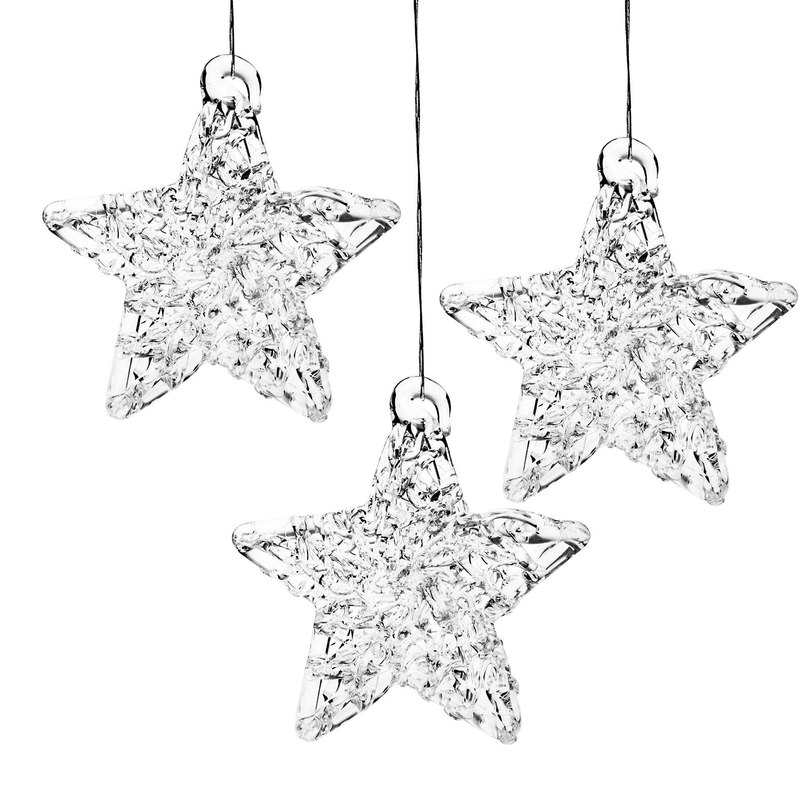Sterne Für Weihnachtsbaum.Details Zu Sikora Christbaumschmuck Weihnachtsbaum Anhänger Glas Stern 3er Set