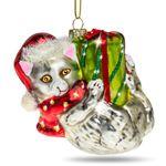 SIKORA BS444 Glas Figur Christbaumschmuck Weihnachtsbaum Anhänger WEIHNACHTS KATZE 9cm