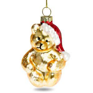 SIKORA BS378 Glas Figur Christbaumschmuck Weihnachtsbaum Anhänger GOLD BÄR 8cm