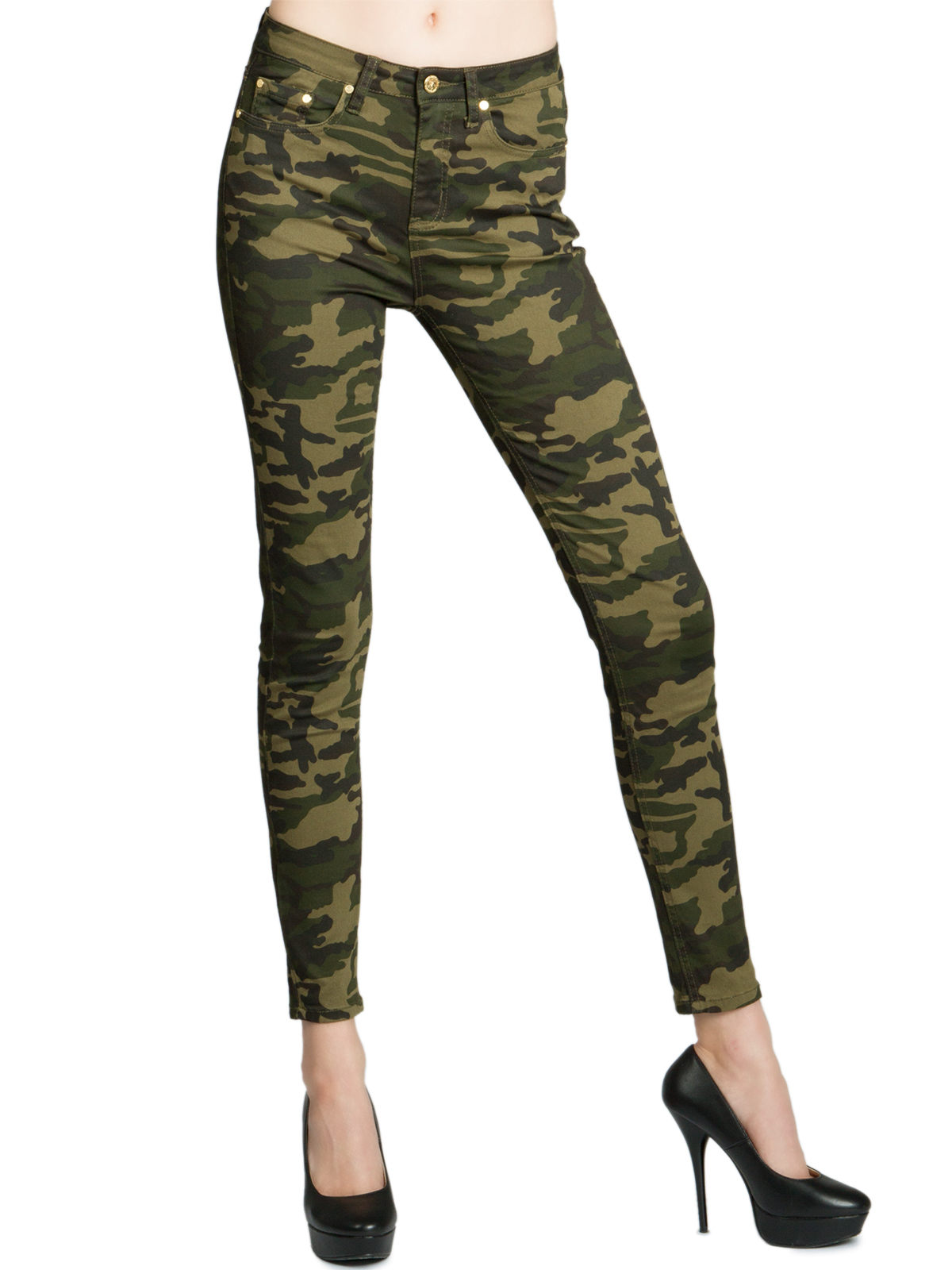 Damen Army Military Cargo Bundeswehr Jogg Jeans Hose high