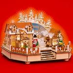 SIKORA SD02 Illuminated XXL Wooden Music Box Village Scene Playing O Christmas Tree
