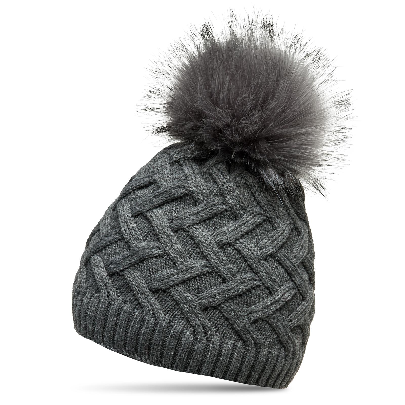 01c63c2b963 Details about CASPAR MU168 Women Winter Bobble Hat Fleece Lining Faux Fur  Pom Pom Cable Knit