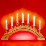 SIKORA LB64 Classic Natural Wooden Christmas Arch Decoration with 7 Electric Candle Lights and Gold Decor, Mains-Operated