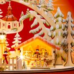 SIKORA LB68 Illuminated Wooden Christmas Arch Table Decoration Showing German Xmas Market and Village Scene, with LED Lights and Transformer