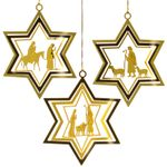 SIKORA BS167 Set of 3 Star-Shaped Nativity Christmas Tree Decorations Gold Metal Bauble in Traditional Design