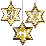 SIKORA BS168 Set of 3 Star-Shaped Christmas Tree Decorations Gold Metal Ornament in Modern Design