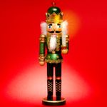SIKORA Serie C XL Wooden Nutcracker Figure with LED Lighting & Remote Control
