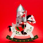 SIKORA Serie E Tall XL Wooden Nutcracker Soldier Christmas Figure on a Rocking Horse