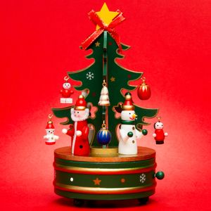 SIKORA SD03 Wooden Music Box with Christmas Scene Tree Playing Silent Night