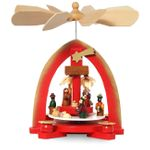 SIKORA P18 Classic Wooden Red Christmas Pyramid with Nativity Scene / Height: approx. 23 cm / 9 in