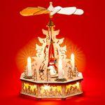 SIKORA P31 LED Holz Weihnachtspyramide mit elektrischem Antrieb und beleuchteten Kerzen und Sockel H: 32,5 cm