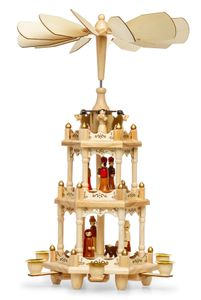 SIKORA P3 Traditional Wooden Christmas Pyramid Three Levels Height 45cm