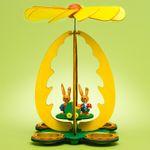 SIKORA OD04 Osterdeko Holz Osterei Teelicht Tischpyramide mit Osterhasen Figuren