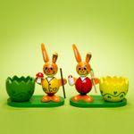 SIKORA OD08 Osterdeko Holz Eierbecher mit Osterhasen Figuren im 2er Set