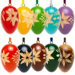 SIKORA OD01 Holz Deko Ostereier mit geschnitzten Ornamenten, 10er Set mit gemischten Farben - erhältlich in 2 Größen
