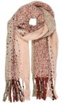 Caspar SC486 XXL Women's Fringe Winter Scarf Multicoloured Pattern