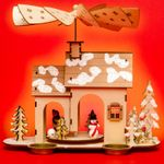 SIKORA P34 Wooden Christmas Pyramid for Tea Lights - WINTER HOUSE