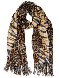 Caspar SC502 Women's XL Scarf with Stylish Tiger Leopard Animal Print