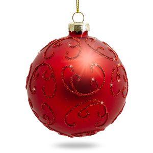 SIKORA 4er-Set ausgefallene Christbaumkugeln 'Highlights' aus Glas - Rot