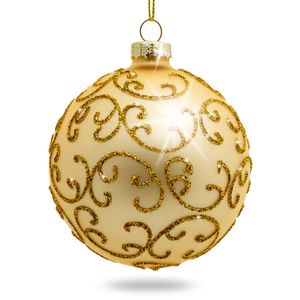SIKORA Set of 4 Christmas Tree Glass Baubles 'Highlight' - Gold