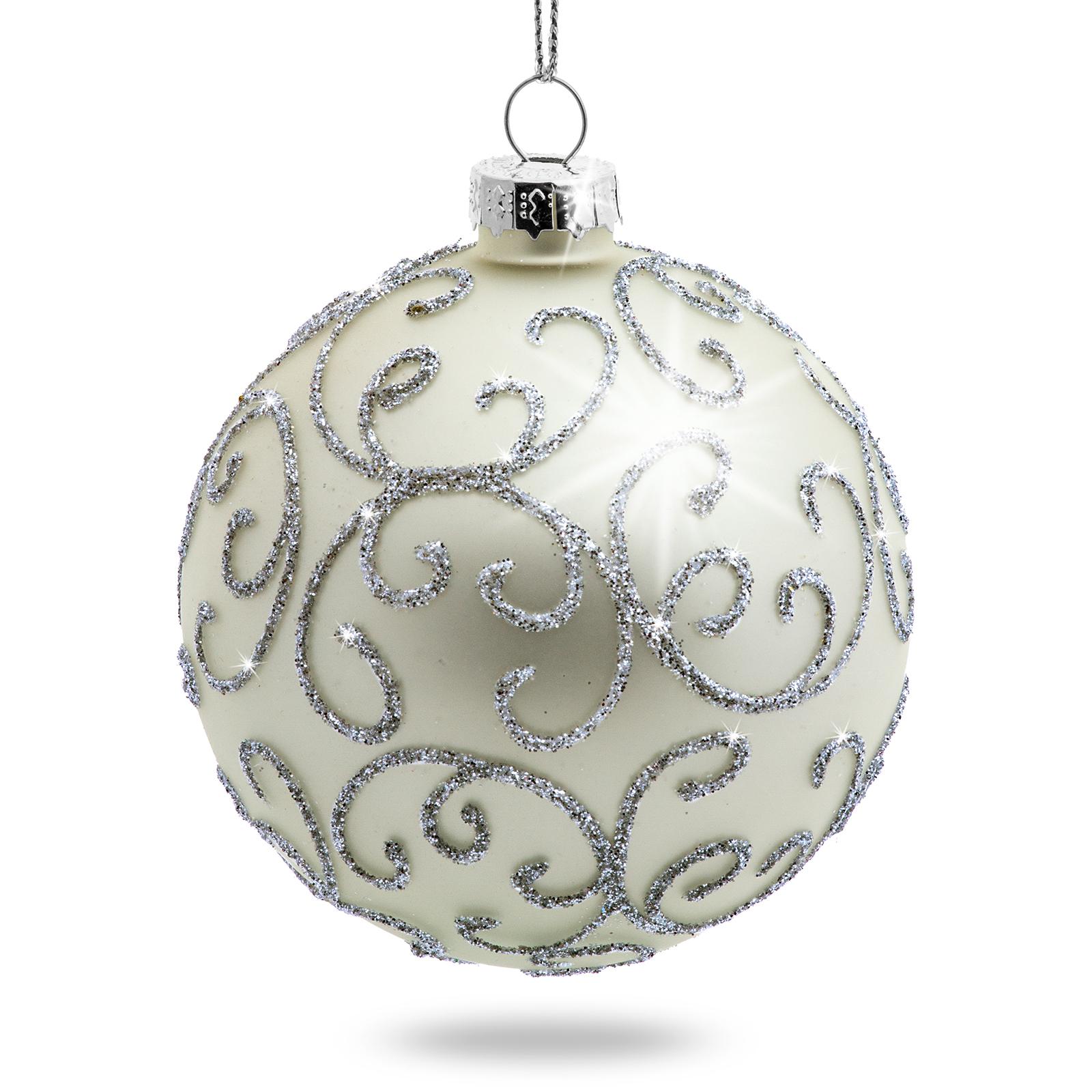 Glitzer Christbaumkugeln.Details Zu Sikora 4er Glanz Verzierte Glitzer Christbaumkugeln Weihnachtskugeln Glas Silber