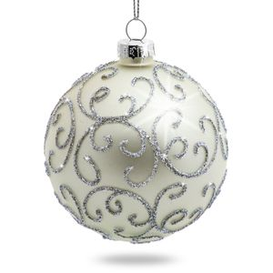 SIKORA Set of 4 Christmas Tree Glass Baubles 'Highlight' - Silver