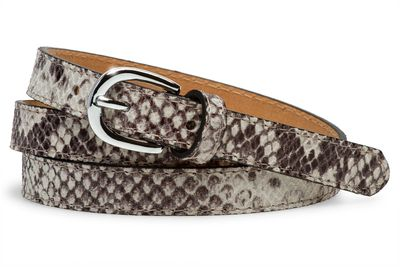 Caspar GU320 Elegant Women's Skinny Leather Belt with Snakeskin Print