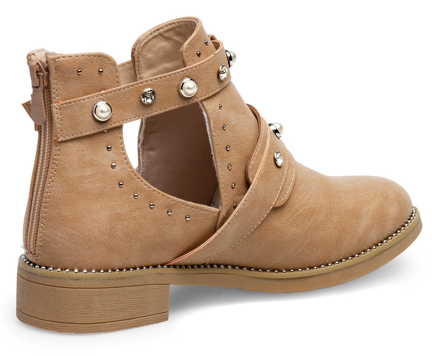 Details zu Caspar SBO103 Damen Sommer Chelsea Boots Stiefeletten Sandalen Perlen Strass