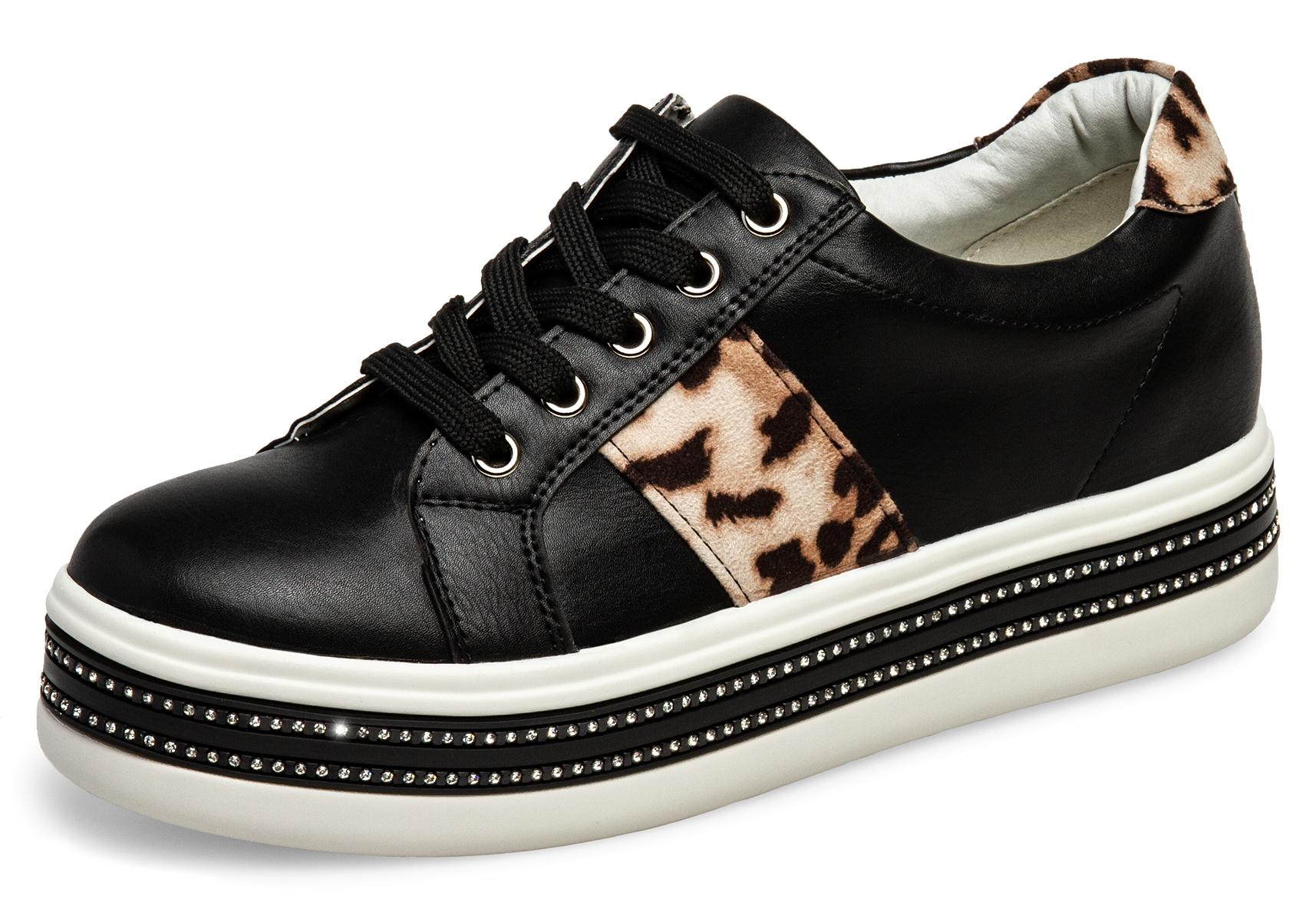 wholesale dealer d5e4f d4833 Caspar SBO095 Damen Glitzer Strass Leo Plateau Sneaker Low ...