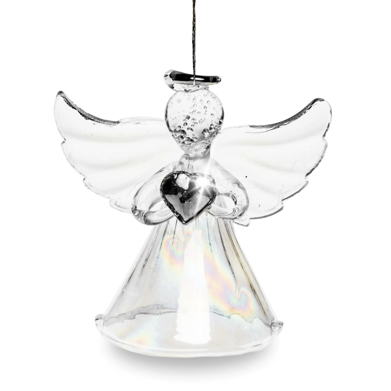 sikora bs241 christbaumschmuck aus glas engel mit irisierendem rock 3er set christbaumschmuck. Black Bedroom Furniture Sets. Home Design Ideas