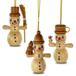 SIKORA BS304 Set of 3 Wooden Christmas Tree Ornament - Snowman H: 8 cm / 3.1 in