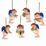 SIKORA BS318 Set of 6 Wooden Christmas Tree Ornament: Angel Chapel H: 2.4 in