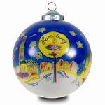 SIKORA INNENGLASMALEREI Weihnachtskugel Glaskugel Motiv HAMBURG - D:7,5cm