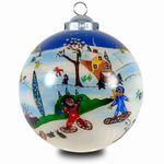 SIKORA INNENGLASMALEREI Weihnachtskugel Glaskugel Motiv WINTERKINDER - D:7,5cm