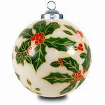 SIKORA INNENGLASMALEREI Weihnachtskugel Glaskugel Motiv ILEX - D:7,5cm